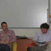 Ilustrátor knihy Miroslav Knap (vľavo) a Jozef Medard Slovík