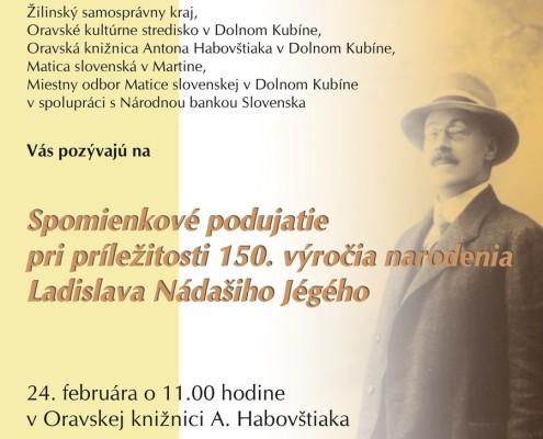 Spomienkové podujatie - 150. výročia narodenia Jégého