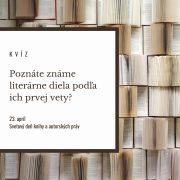 Poznáte známe literárne diela podľa ich prvej vety?